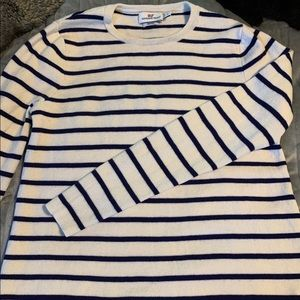 Blue and white striped crew